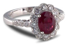 oval ruby engagement ring with diamond halo setting