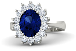 oval sapphire 14k white gold ring with diamond - Sapphire engagement rings
