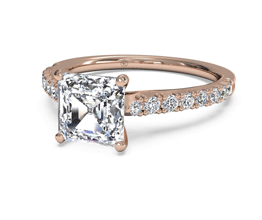 Asscher French-Set Diamond Band Engagement Ring (18K Rose Gold) (0.23 CTW)