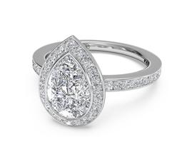Pear Halo Micropavé Diamond Band Engagement Ring (Palladium) (0.29 CTW)