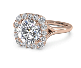 Round French-Set Halo Diamond Engagement Ring