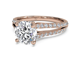 Round Double French-Set Diamond 'V' Engagement Ring with Surprise Diamonds