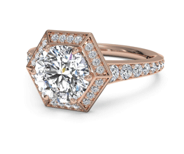 Round Vintage Hexagonal Halo Vaulted Diamond Band Engagement Ring