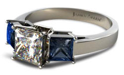 Princess cut sapphire side stones2 - Three stone engagement rings