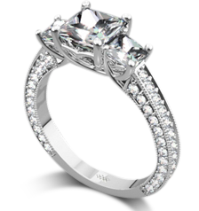 Whiteflash 3 stone ring for Princess cut
