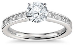 Princess cut channel set engagement ring - Channel set engagement rings