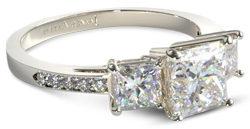 Three Stone Princess and Pave Set Diamond Engagement Ring1 e1486517949376