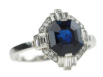 art deco sapphire engagement ring - Custom Engagement Rings