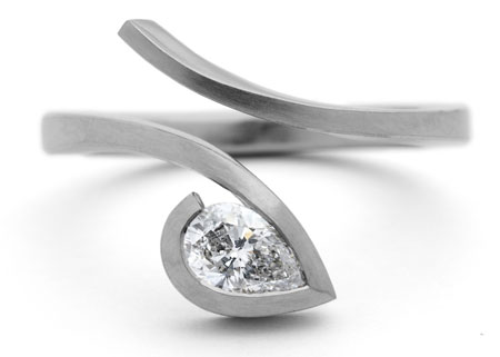 modern diamond ring pear diamond - Custom Engagement Rings