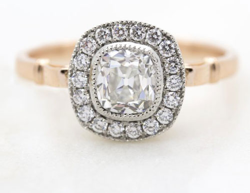 old mine cut engagement ring - Custom Engagement Rings