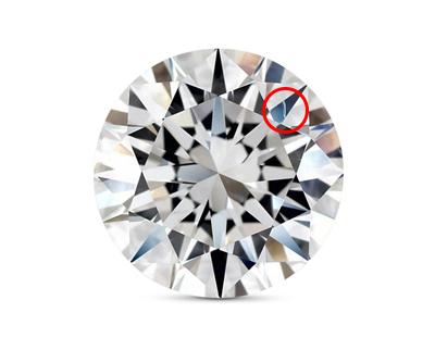 Vs2 clarity diamond with visible feather - VS2 Diamonds