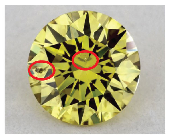 yellow diamond inclusions