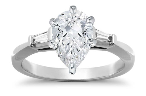 pear diamond three stone ring