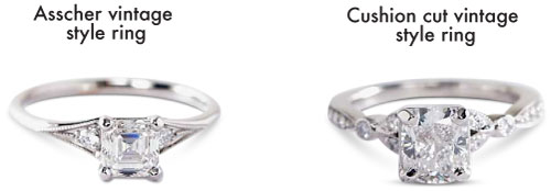 cushion cut and asscher antique engagement rings - Square Engagement Rings
