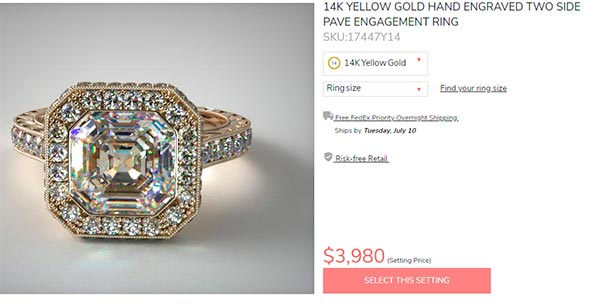 13 Shanina Shaiks engagement ring setting price 1 - Shanina Shaik's Engagement Ring