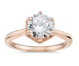 Hexagon Halo Solitaire Diamond Engagement Ring