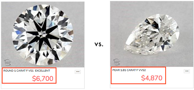 pear and round diamond price comparison 1 - Pear shaped engagement rings