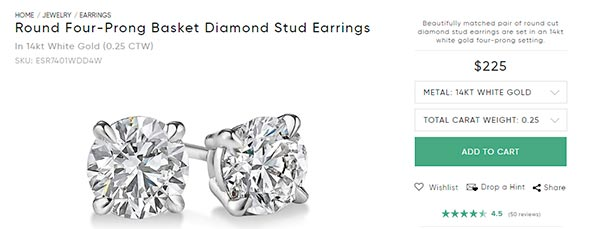 Diamond Stud Earrings carat round preset Ritani
