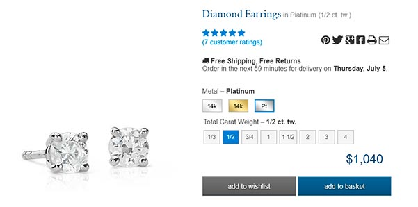 Diamond Stud Earrings carat round platinum precut BlueNile