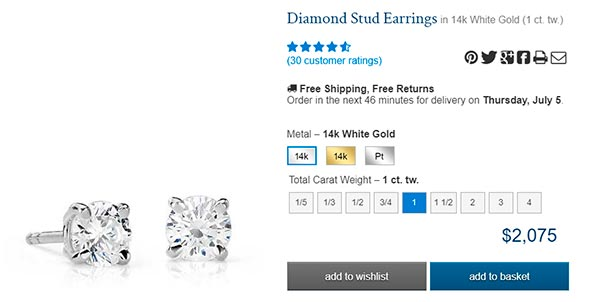 Diamond Stud Earrings carat round basket BlueNile