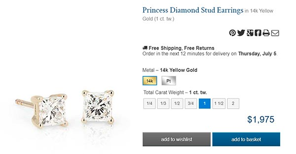 Diamond Stud Earrings carat princess BlueNile