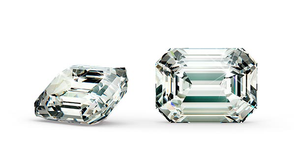Diamond Stud Earrings Emerald Cut