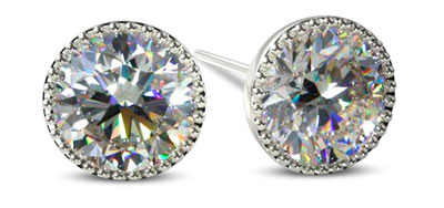 Diamond Stud Earrings Bezel Setting
