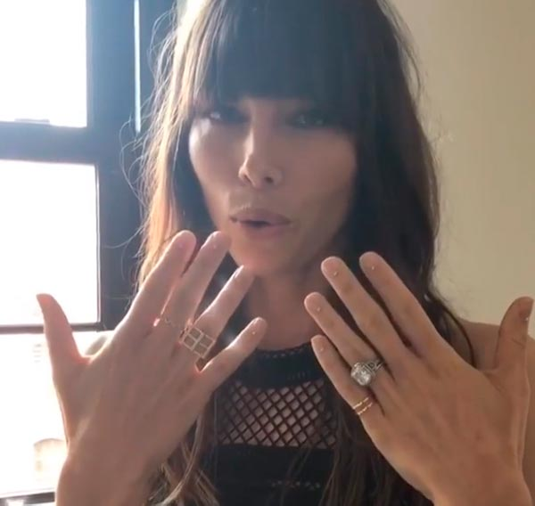 Jessica Biels Engagement Ring Instagram View