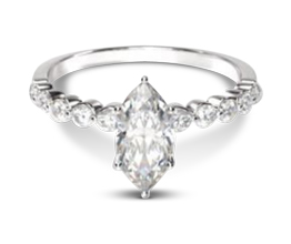Beveled side stone marquise diamond engagement ring