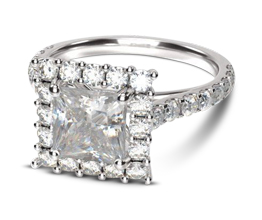 4M Floating Halo Princess Diamond Engagement Ring - Princess cut engagement rings