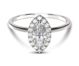 Classic Shank Halo Marquise Diamond Engagement Ring