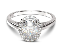 Oval Plain Shank Halo Diamond Engagement Ring