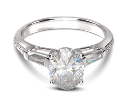 Three Stone Tapered Baguette Diamond Engagement Ring