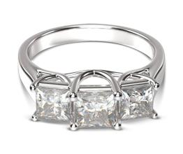 4M Three Stone Trellis Princess Diamond Engagement Ring - Princess cut engagement rings