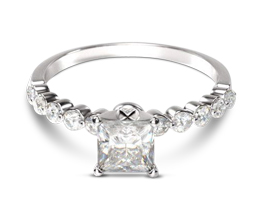 Under-bezeled Accent Princess Cut Diamond Engagement Ring