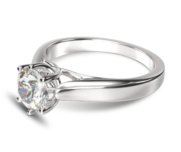 4M Weaved Cathedral Solitaire Diamond Engagement Ring - Round Engagement Rings