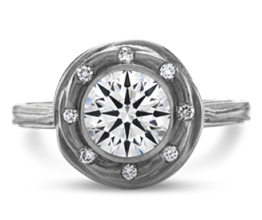 Liva halo palladium engagement ring