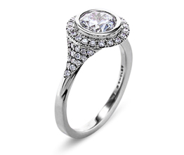 'Elle' halo palladium engagement ring