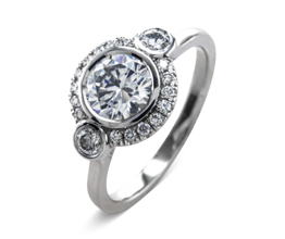 'Maja' halo palladium engagement ring