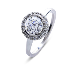 BG victoria halo palladium engagement ring - Palladium engagement rings