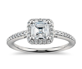BN Asscher halo engagement ring 1 - Asscher cut engagement rings