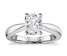 Classic tapered cushion cut diamond solitaire engagement ring