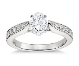 BN Cathedral Pavé Diamond Engagement Ring - Oval Engagement Rings