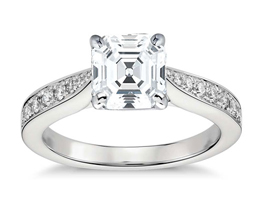 Cathedral Pavé Asscher Diamond Engagement Ring