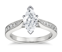 Cathedral pavé marquise diamond engagement ring