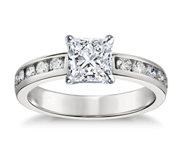 Channel Set Princess Cut Diamond Engagement Ring with Round Side Stones