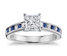 BN Channel Set Sapphire and Diamond Engagement Ring - Princess cut engagement rings