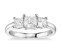 BN Classic Three Stone Diamond Engagement Ring - Princess cut engagement rings