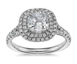 Duet halo cushion cut diamond engagement ring