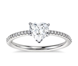 Petite Micropavé Heart Diamond Engagement Ring